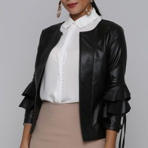 Layered Bell Sleeve Faux Leather Jacket